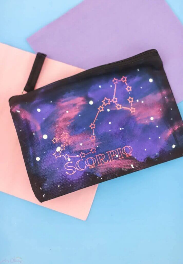painted pencil bag with Scorpio sign