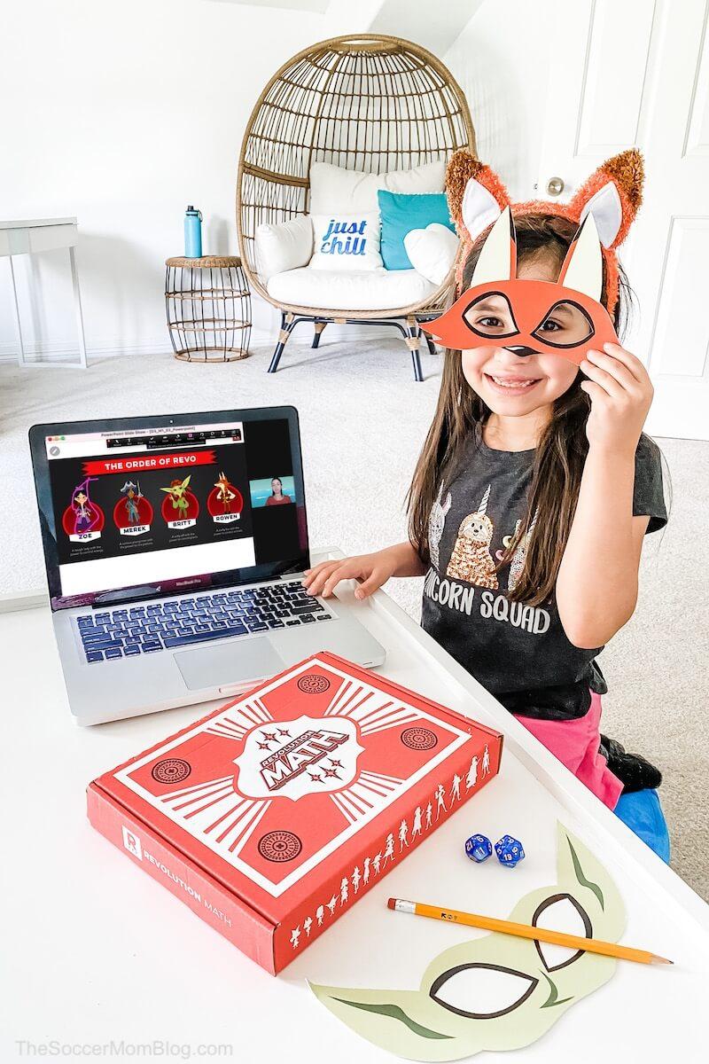 little girl with online math tutoring program