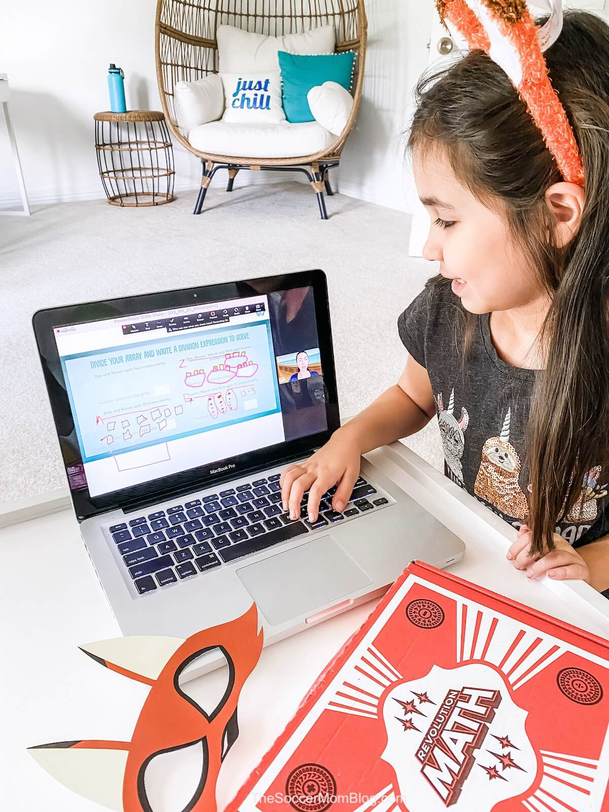 little girl with Wonderland Math tutoring program