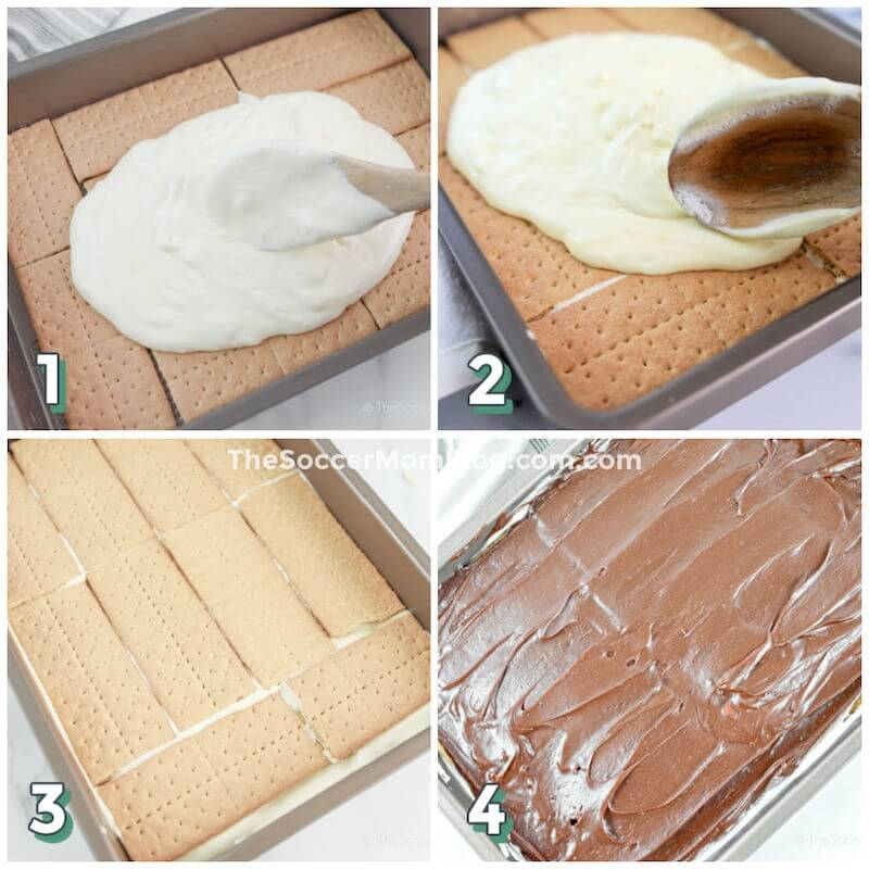 step by step photo collage showing how to make no bake eclair cake