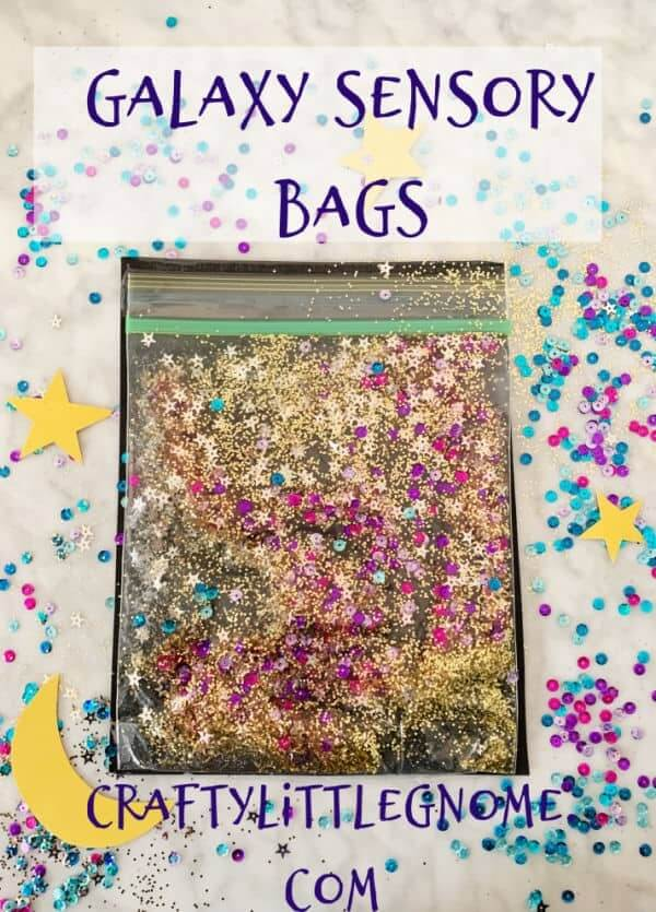 sensory bag filled with glitter and star confetti