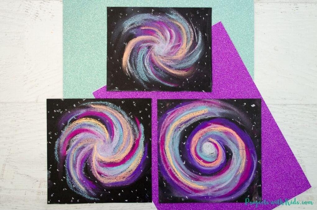 galaxy swirl chalk art for kids