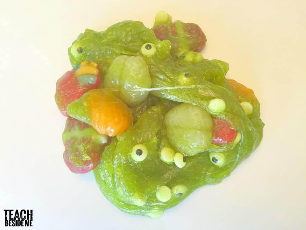 snot green slime with creepy eyeballs and brains