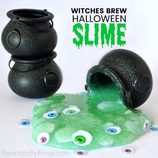 mini cauldrons with Halloween slime