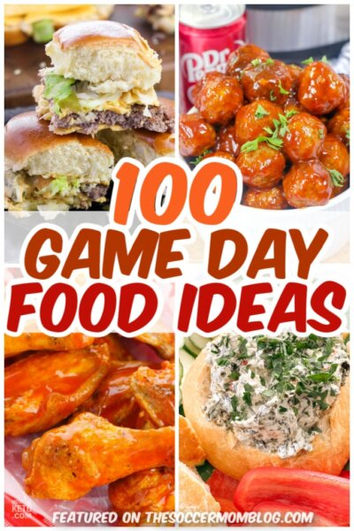 collage of game day food ideas