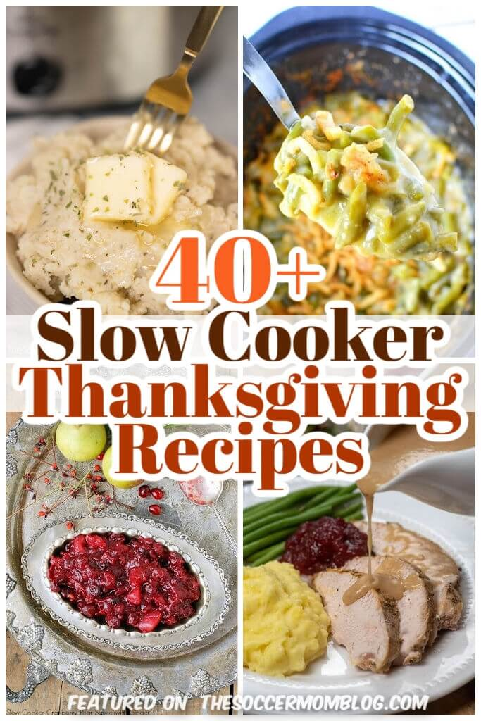 collage of Thanksgiving slow cooker recipes