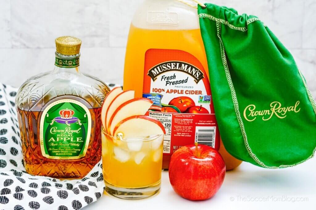 spiked apple cider with Crown Apple and ingredients