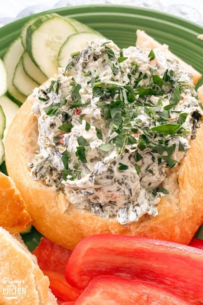 cold spinach dip in bread bowl