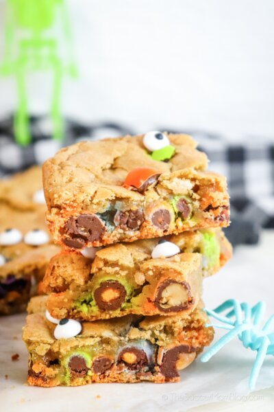 Halloween Blondies stacked on a table