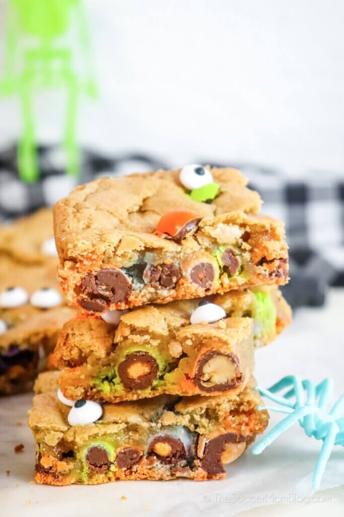 stack of Halloween blondies with candy eyeballs