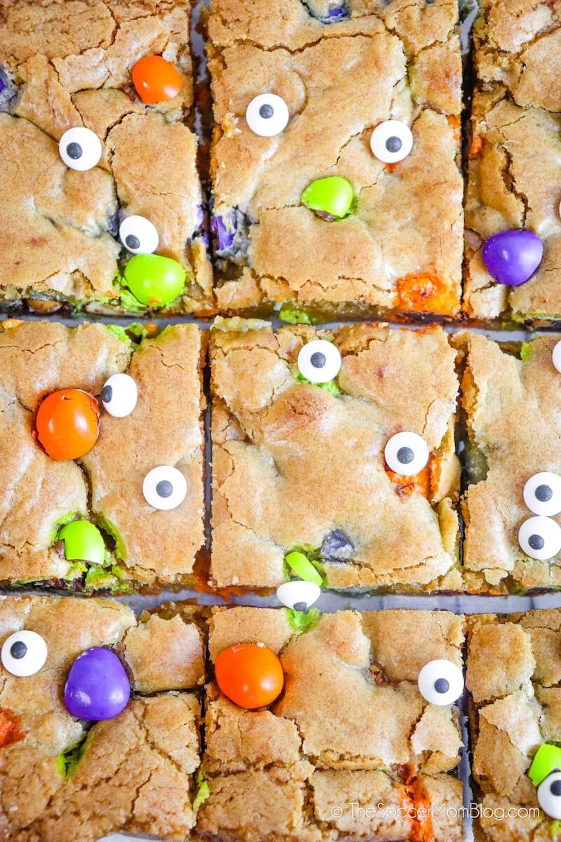 Freshly cut Halloween Blondies with candy eyeballs