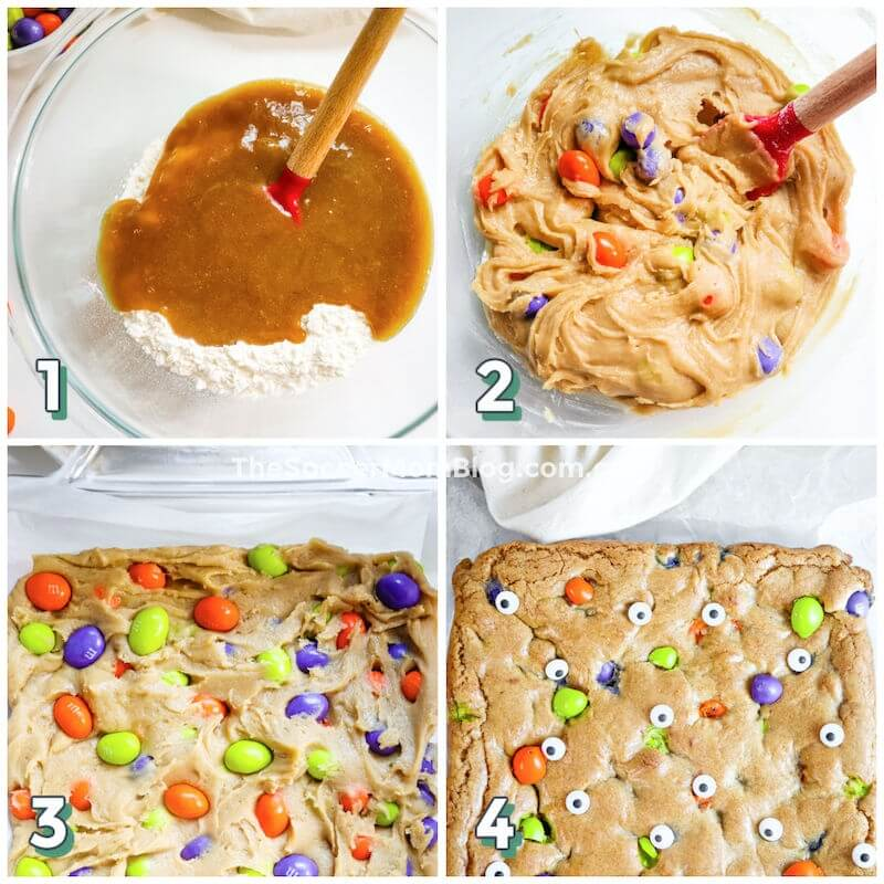 step by step photo collage showing how to make Halloween blondies