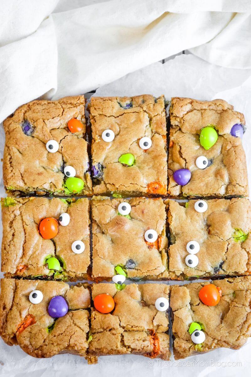 Halloween Blondies cut into squares