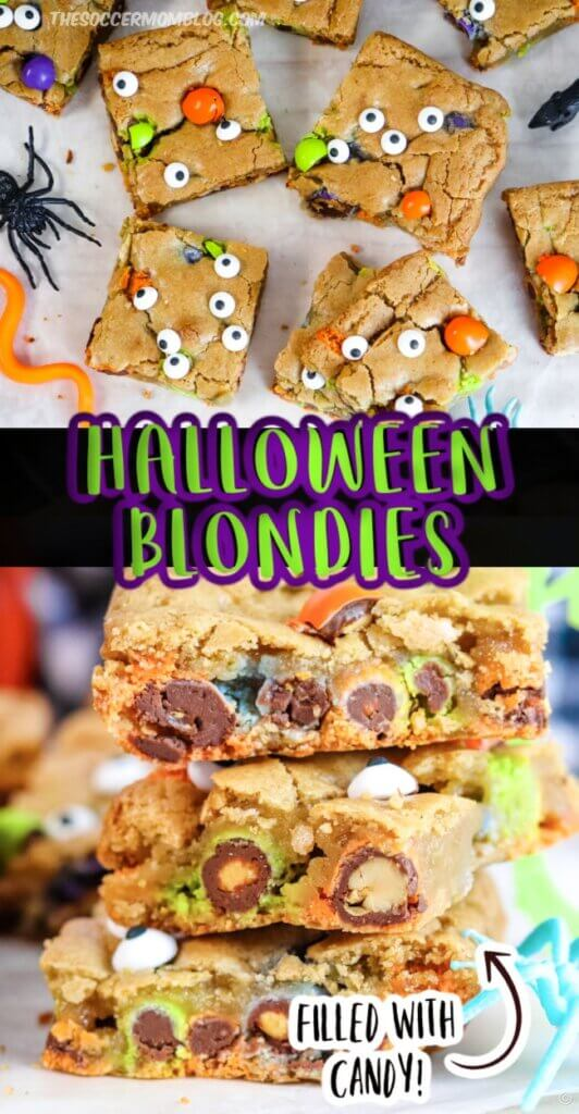 Halloween candy cookie bars with candy eyeballs
