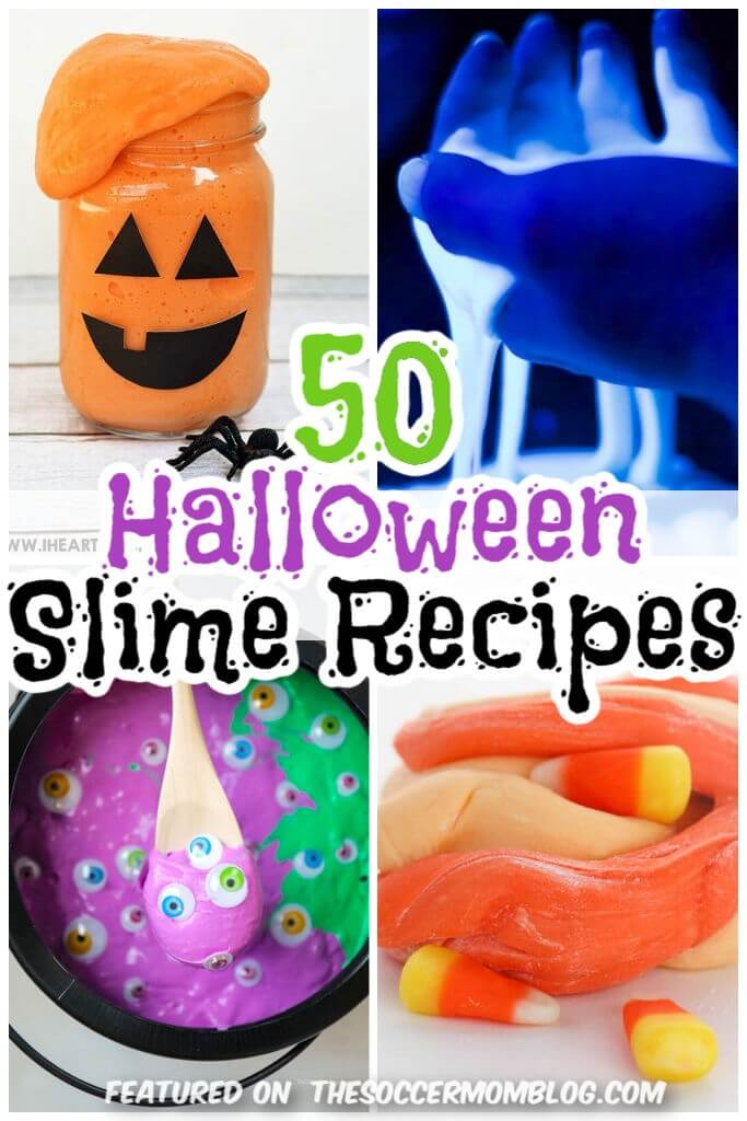 collage of Halloween themed slime recipes