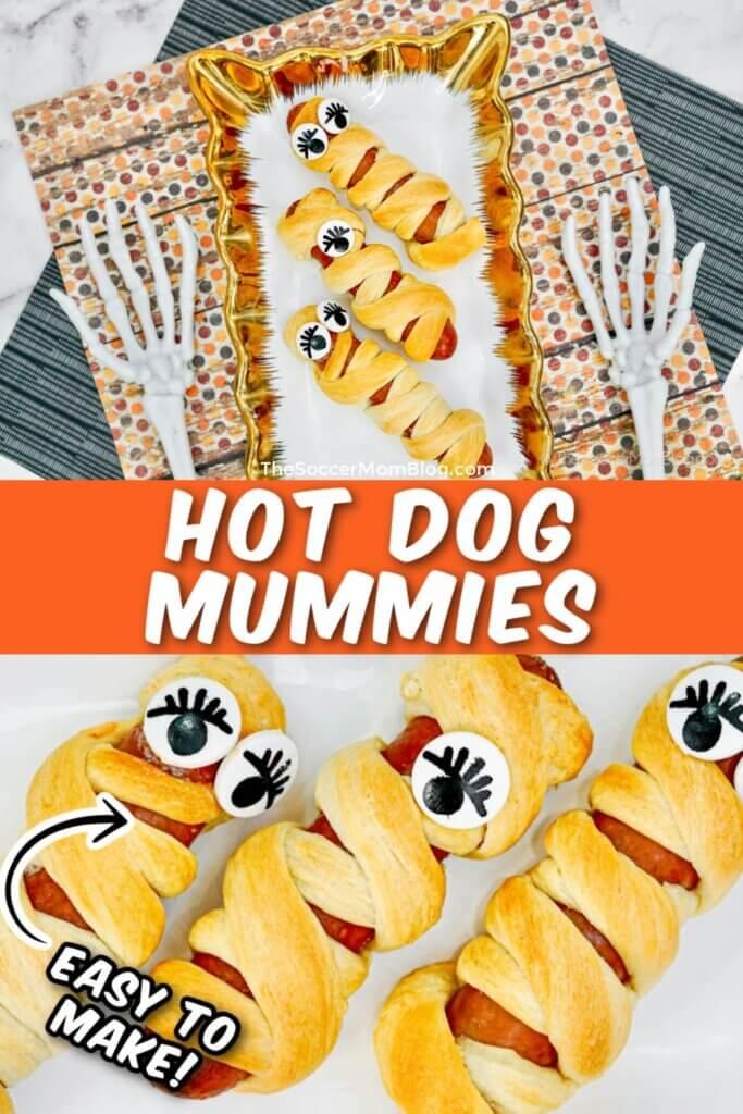 collage of images showing hot dog mummy recipe