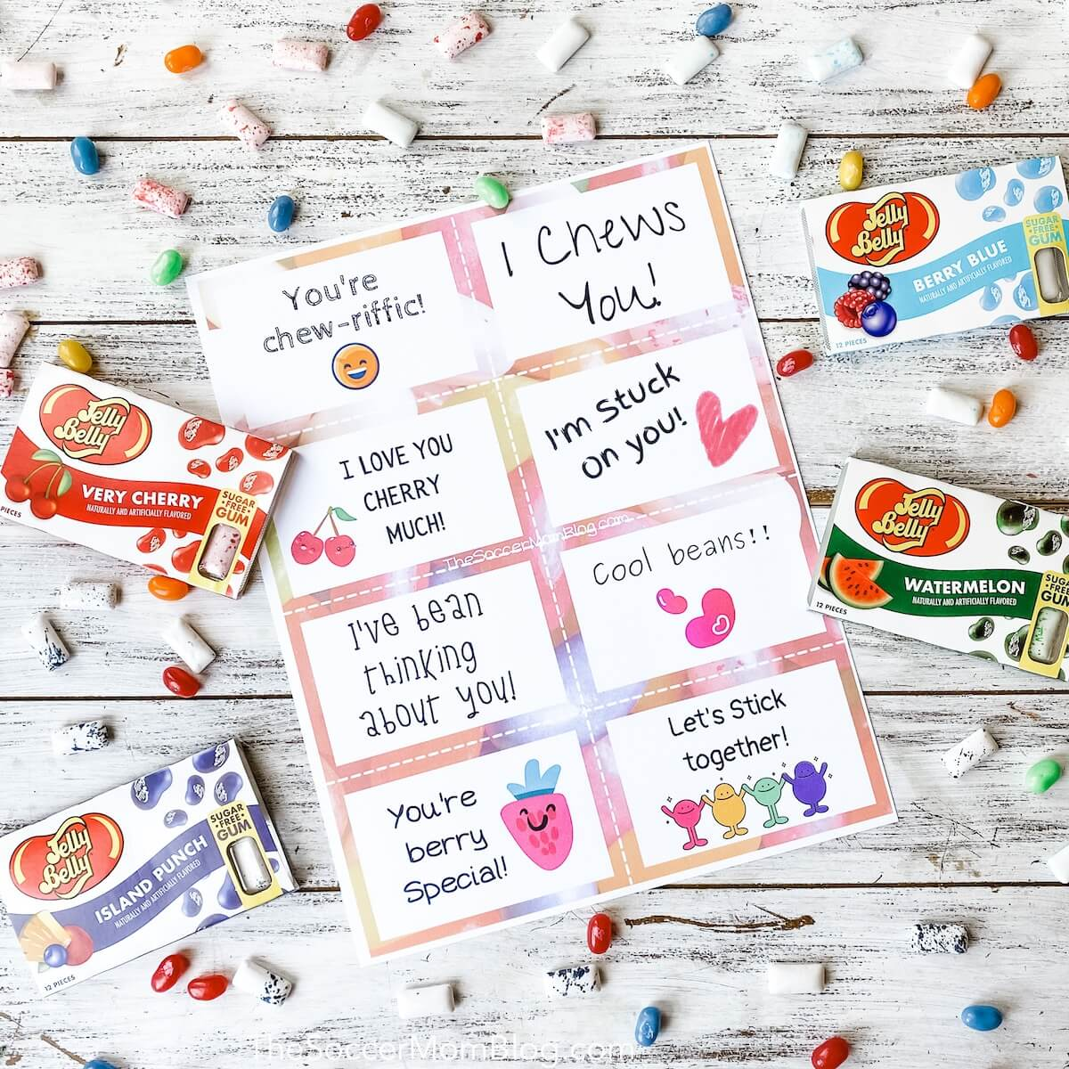 printable candy gift tags and Jelly Belly Gum