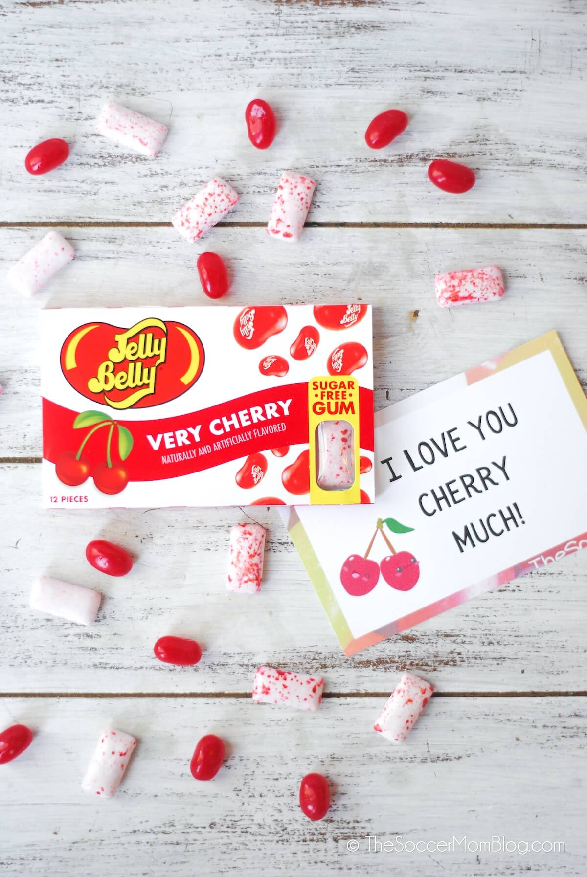 Jelly Belly Wild Cherry Gum with printable gift tag