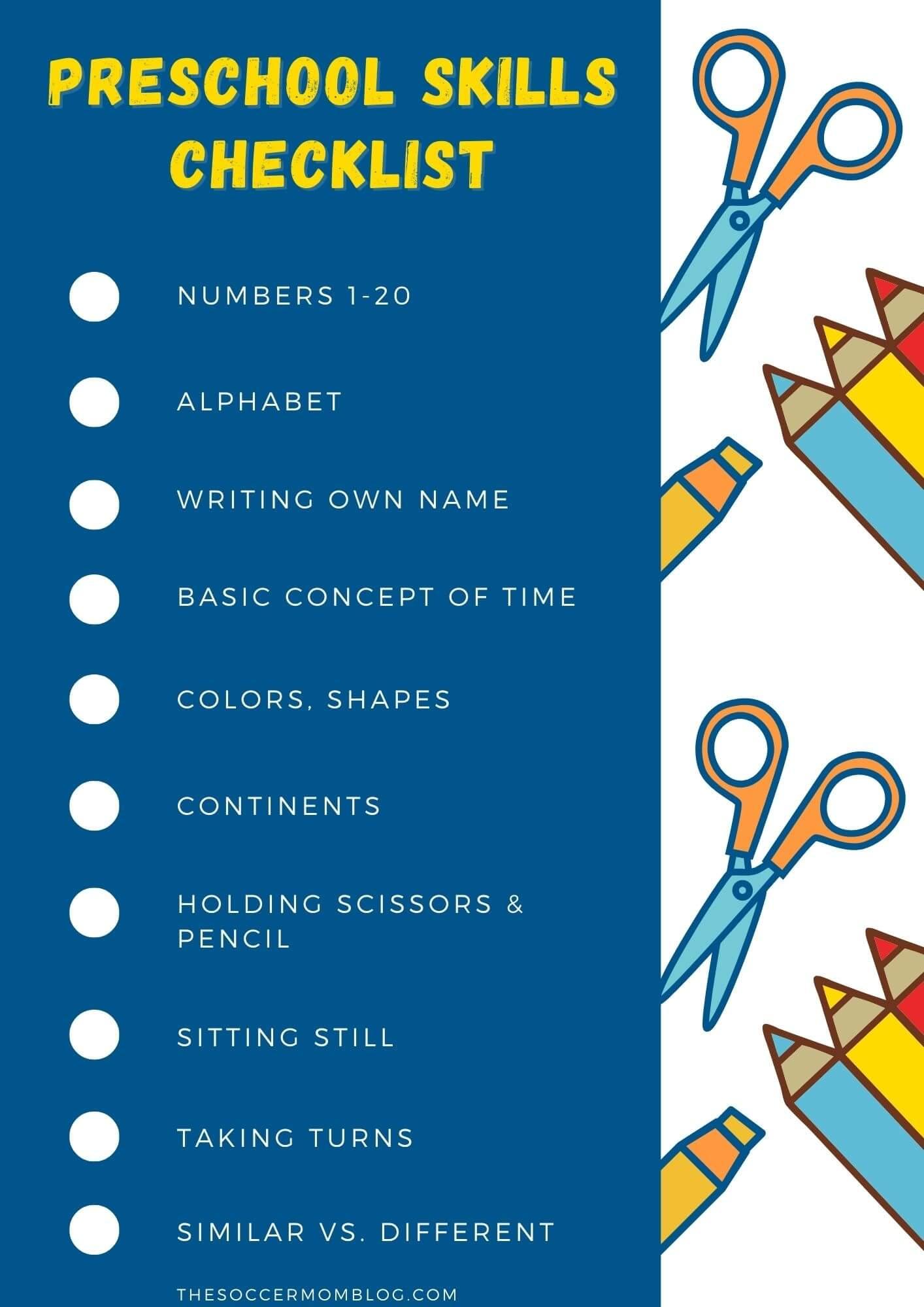 checklist of skills kids learn in preschool