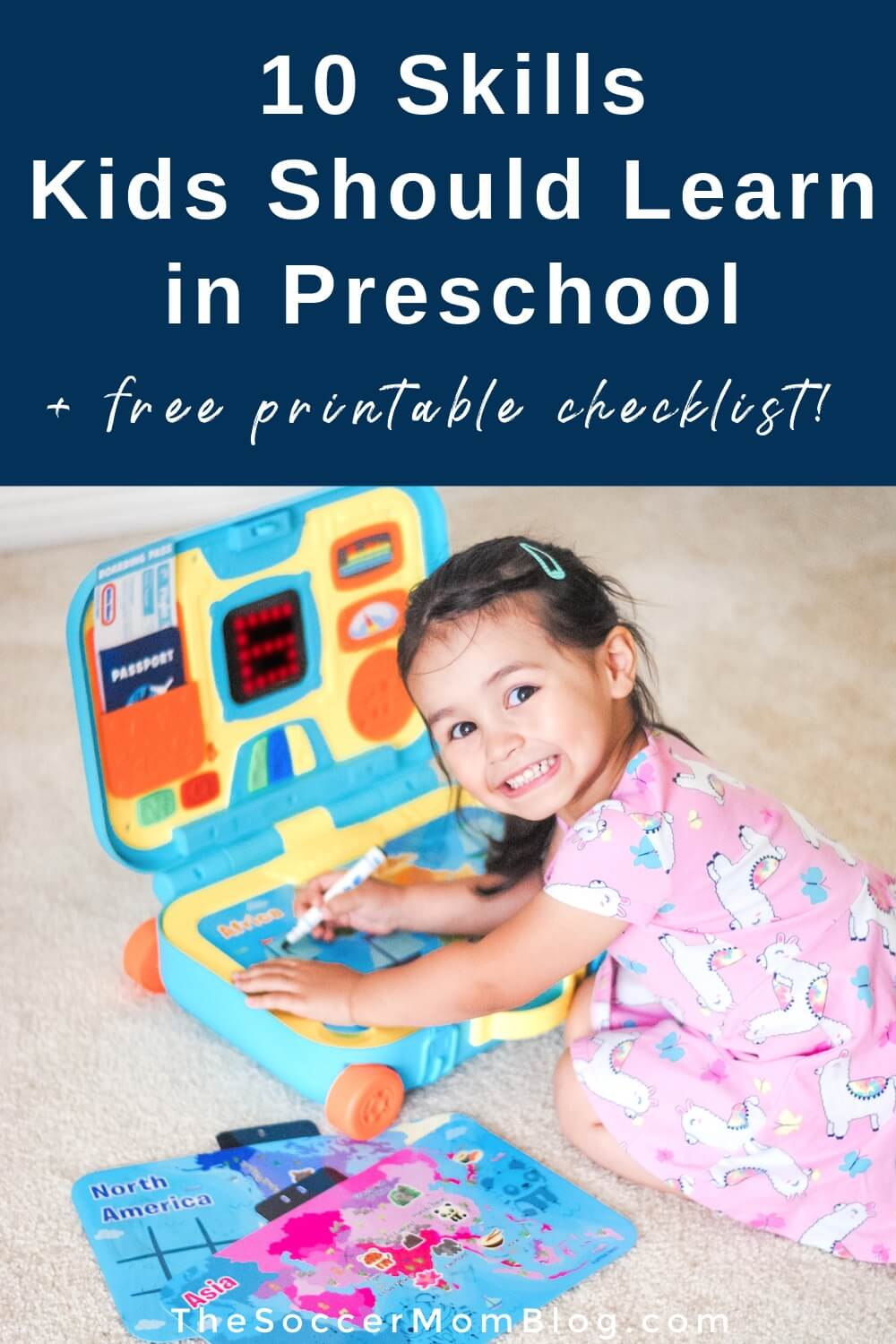 little girl playing with Learning Activity Suitcase