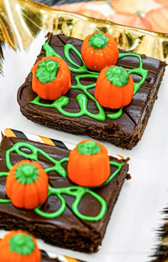 Halloween brownies decorated to look like a pumpkin patch