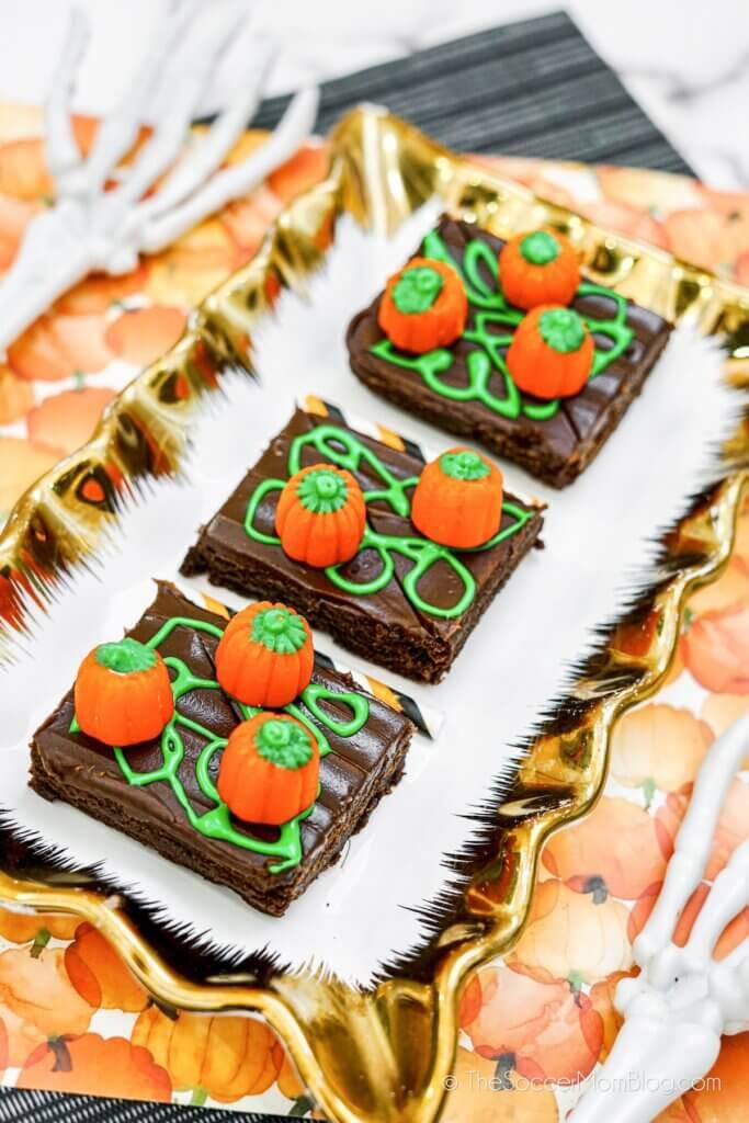 Decorated Halloween Pumpkin Patch Brownies