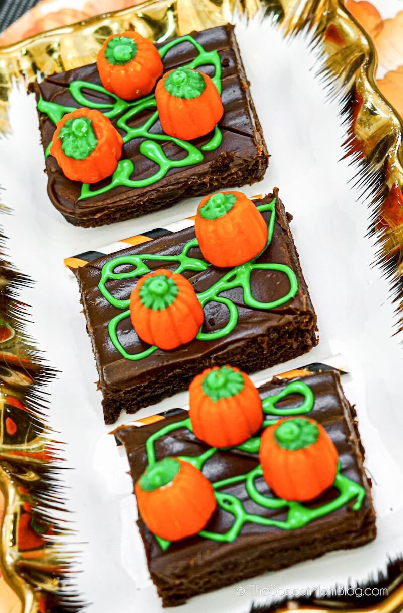 Pumpkin Patch Brownies on a plate