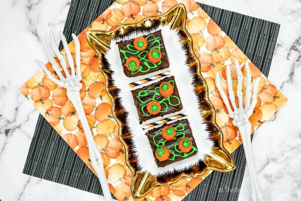 Pumpkin Patch Brownies on a table with Halloween decor