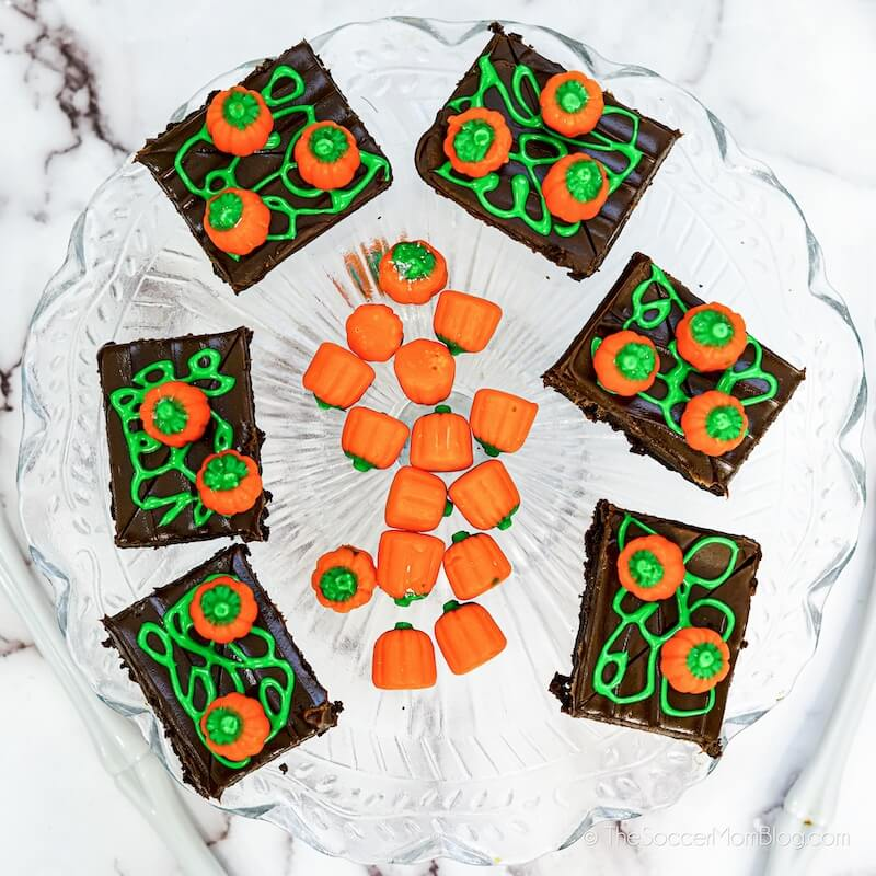 decorating brownies to look like a Fall pumpkin patch