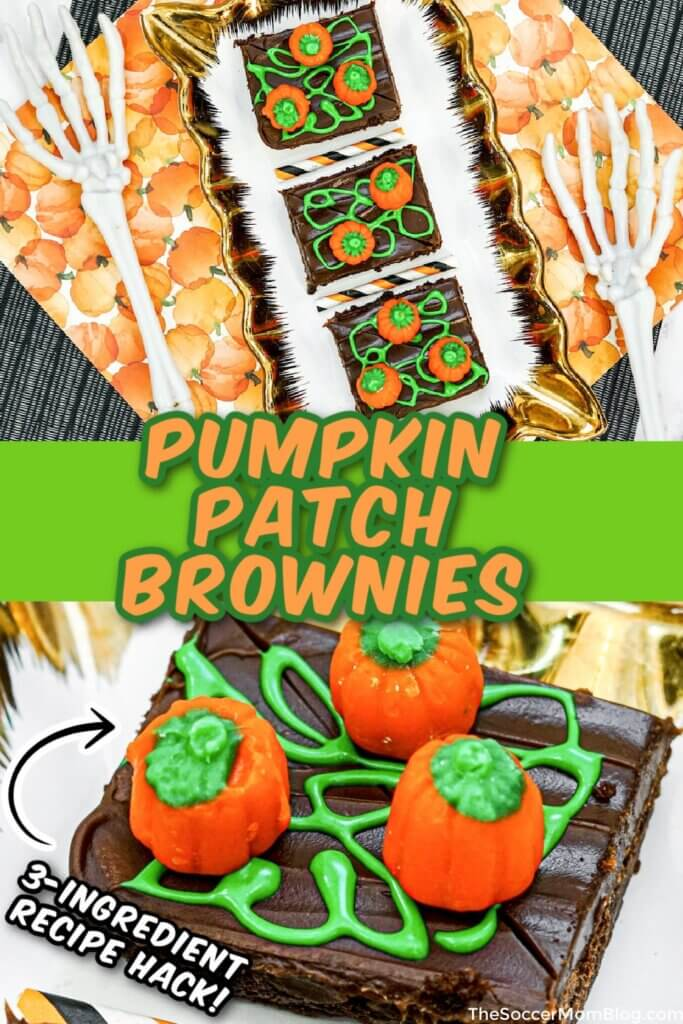 pumpkin patch decorated brownies for Halloween
