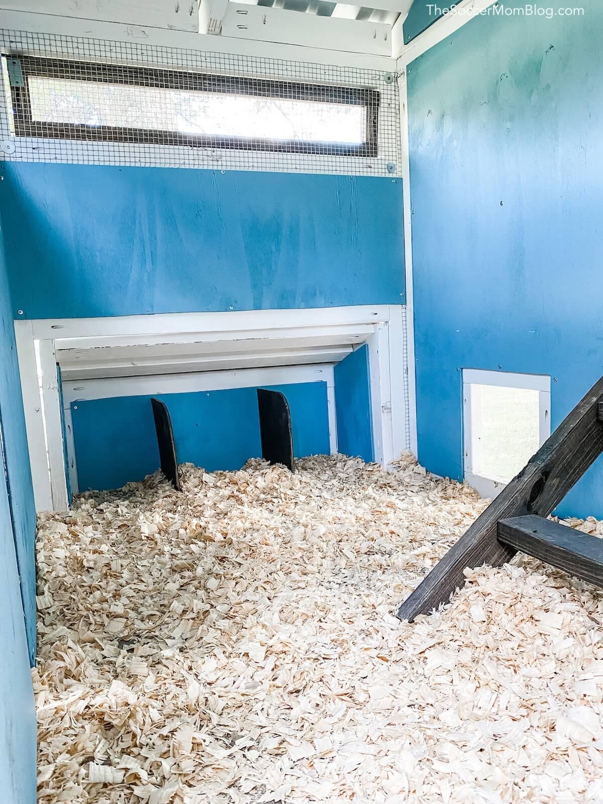 inside of chicken coop roosting area