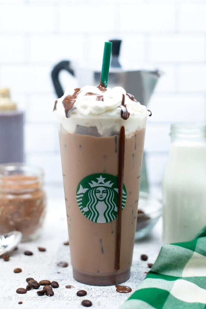 Copycat Starbucks Skinny Mocha with whipped cream on top
