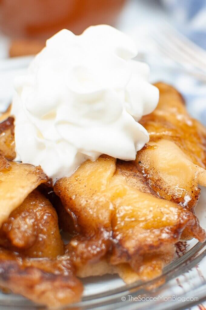 Instant Pot Apple Dumplings with whipped cream topping