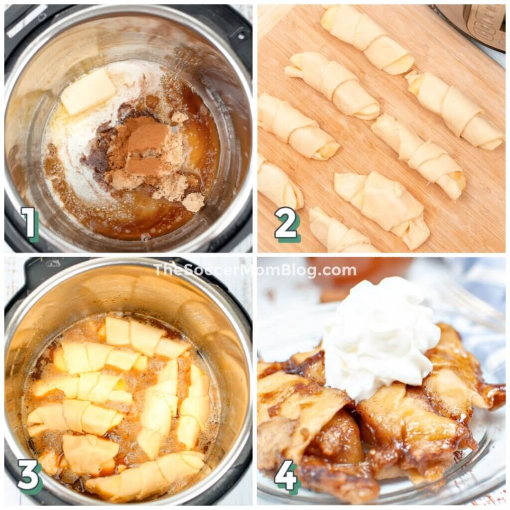 photo collage showing how to make crescent roll apple dumplings in Instant Pot