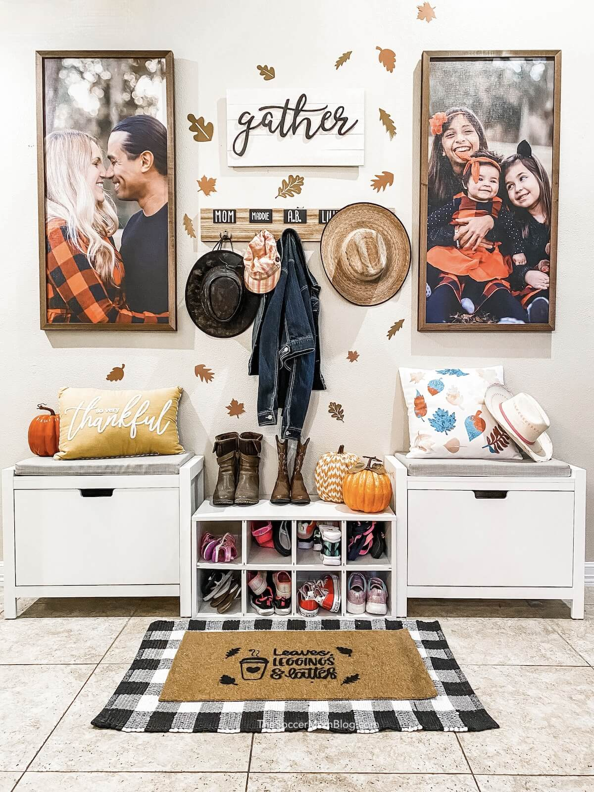 fall entryway decorated with leaf cutouts