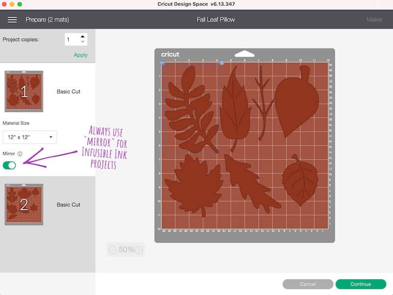 fall pillow pattern in Cricut Design Space