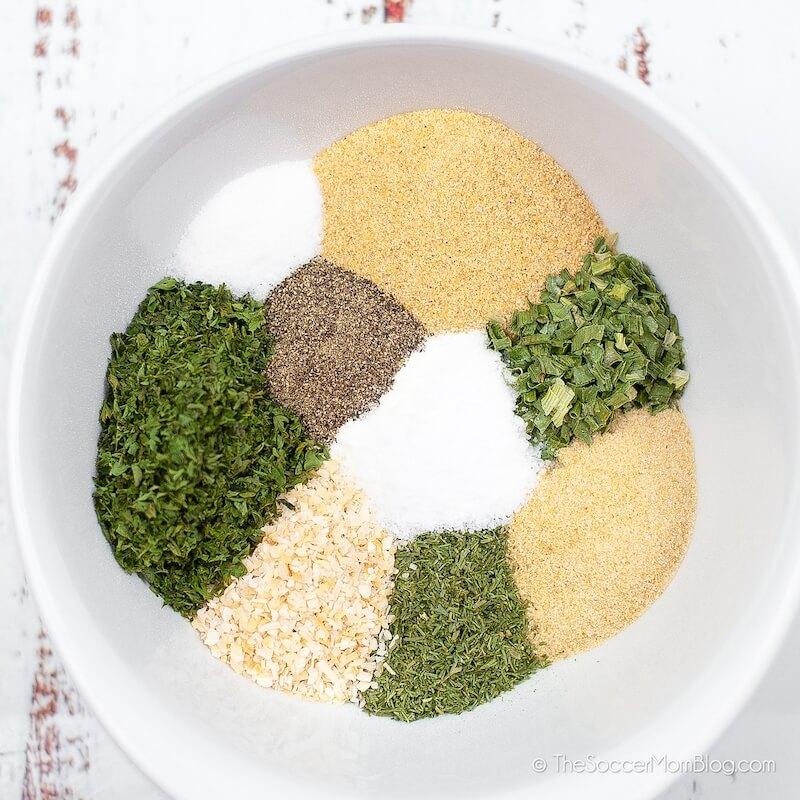 mixing bowl with spices and dried herbs