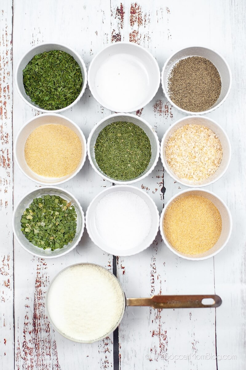spices and dried herbs in bowls