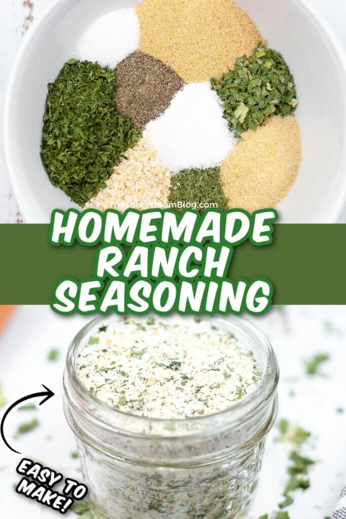 collage showing spices in mixing bowl and finished ranch seasoning